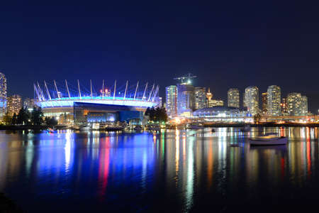 vancouver: Vancouver City skyline and BC Place Stadium at night, Vancouver, British Columbia, Canada