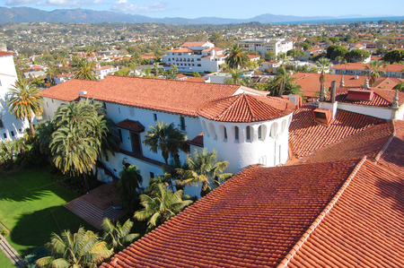 santa barbara: Santa Barbara skyline from Santa Barbara Superior Court, downtown Santa Barbara, California, USA