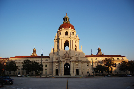 Pasadena City Hall at dusk. Pasadina, Los Angeles, California, USA