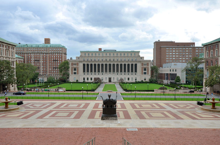 campus tour: Central Quadrangle and Butler Library of Columbia University in Upper Manhattan, New York City, USA