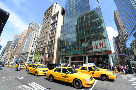 Yellow Cabs on Fifth Avenue, Manhattan, New York City, USA