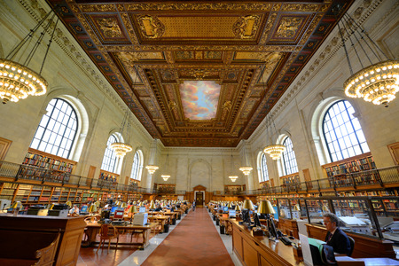 Rose Main Reading Room wide angle, New York Public Library, Manhattan, New York City, USA
