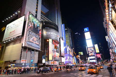 seventh: Times Square at Broadway at night wide angle, Manhattan, New York City, USA Editorial
