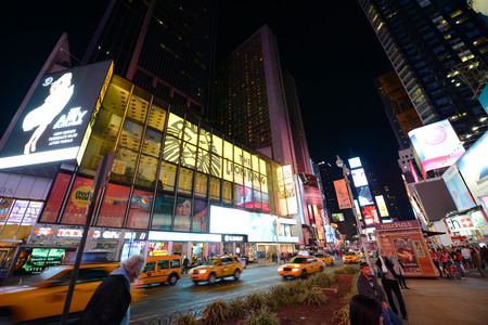 broadway tower: Times Square at Broadway at night wide angle, Manhattan, New York City, USA Editorial