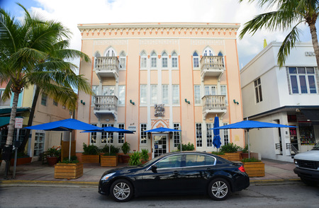 fat tuesday: Art Deco Style Building Fat Tuesday Hotel on Ocean Drive in Miami Beach in the morning, Miami, Florida, USA.