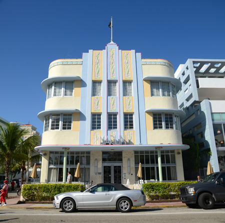 blue marlin: Art Deco Style Building Marlin Hotel in Miami Beach in the morning, Miami, Florida, USA.