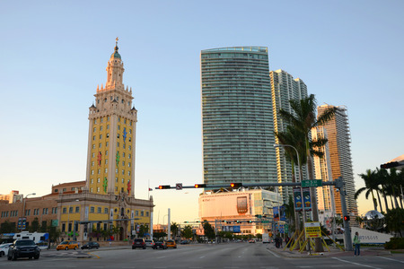 freedom tower: Freedom Tower in downtown Miami at sunset, Miami, Florida, USA Stock Photo