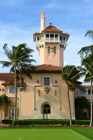 Mar-a-Lago on Palm Beach Island, Palm Beach, Florida, USA. Mar-a-Lago is Palm Beach s grandest mansion with 58 bedrooms and 33 bathrooms. The building was built in 1927 by Joseph Urban and Marion Wyeth.