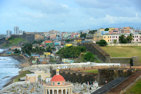 san juan: Santa Maria Magdalena de Pazzis Cemetery, from Castillo San Felipe del Morro El Morro, San Juan, Puerto Rico. Castillo San Felipe del Morro is designated as UNESCO World Heritage Site since 1983.
