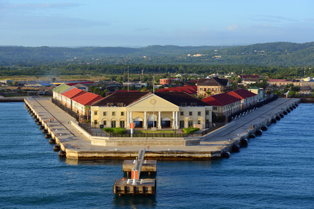 caribbean cruise: Cruise Port at Falmouth, Jamaica. This port is built by Royal Caribbean Cruise company in 2012.