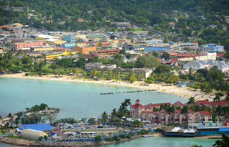 Ocho Rios aerial view from the top of Mystic Mountain, Jamaica