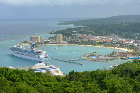 Cruises at port of Ocho Rios aerial view from the top of Mystic Mountain, Jamaica