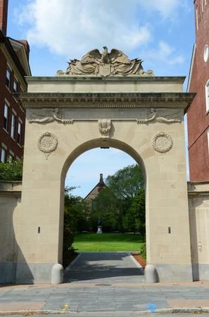 main gate: Brown University main gate, Providence, Rhode Island, USA