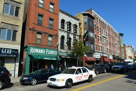 north end: Boston historic Hanover Street in North End, Boston, Massachusetts, USA. North End is the first neighborhood of Boston. Editorial
