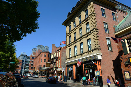 yankee: Boston historic Yankee Publishing Building and Union Oyster House at Union Street in Blackstone Block, Boston, Massachusetts, USA.