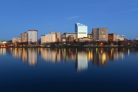 Boston Massachusetts General Hospital and West End Skyline at night viewed from Cambridge Boston Massachusetts USA