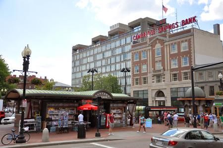harvard university: Harvard Square in Harvard University, Cambridge, Boston, Massachusetts, USA Editorial