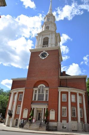 boston common: Park Street Church at the corner of Tremont and Park Street near Boston Common Boston Massachusetts USA Stock Photo