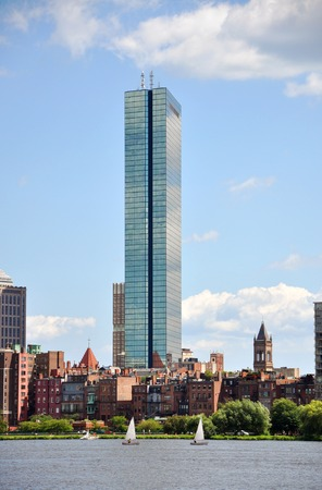 john hancock: John Hancock Tower is the tallest building in New England in Boston Back Bay Massachusetts USA