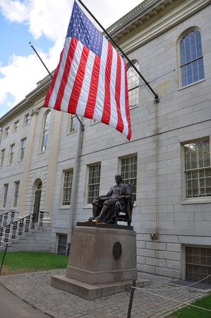 John Harvard statue in Harvard University Cambridge USA
