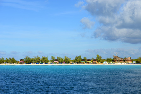 cay: Half Moon Cay Little San Salvador Island the Bahamas. Half Moon Cay is a private island owned by Holland America Line in the Bahamas. Stock Photo