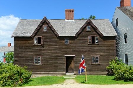 17th: Sherburne House built in 1695 at Strawbery Banke Museum in Portsmouth New Hampshire USA. Now this house exhibit 17th century house design and construction at Strawbery Banke Museum.