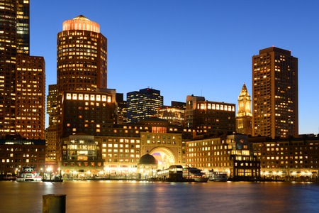 Boston Custom House, Rowes Wharf and Financial District skyline at night, Boston, Massachusetts, USA