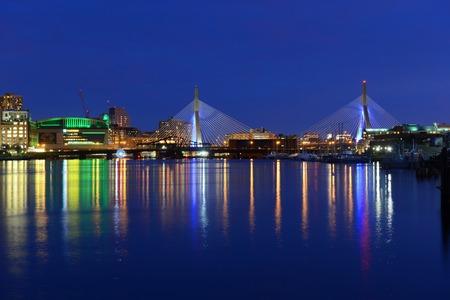 Boston TD Banknorth Garden arena and Zakim Bunker Hill Bridge, viewed from Charlestown, Boston, Massachusetts, USA