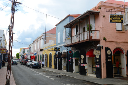 Dronningens Gade, the main street of historic downtown Charlotte Amalie on Saint Thomas Island, US Virgin Islands, USA.