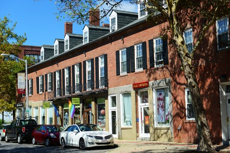 Front Street with commercial shops in Salem, Massachusetts, USA.