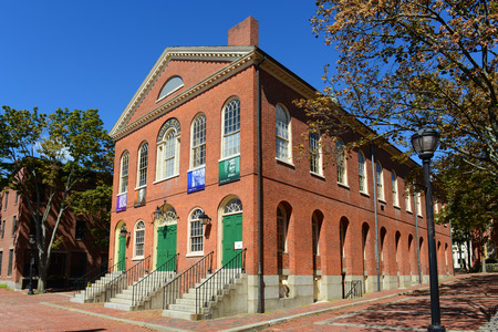 center hall colonial: Old Town Hall in Salem, Massachusetts, USA. This federal style building is the oldest surviving municipal building in Salem. Now this building is used as a public hall and art space. Editorial