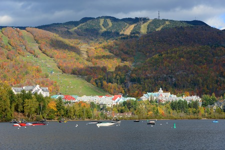 american falls: Lake Tremblant and Mont-Tremblant village in fall with fall foliage, Town of Mont-Tremblant, Quebec, Canada.