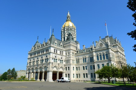 gothic revival: Connecticut State Capitol, Hartford, Connecticut, USA. This building was designed by Richard Upjohn with Victorian Gothic Revival style in 1872.