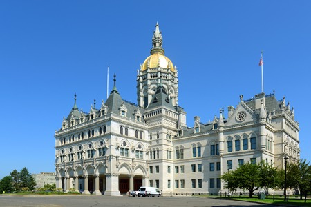 hartford: Connecticut State Capitol, Hartford, Connecticut, USA. This building was designed by Richard Upjohn with Victorian Gothic Revival style in 1872.