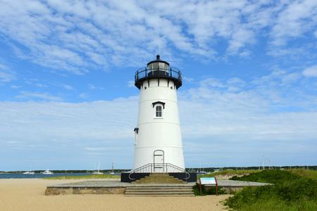 martha: Edgartown Harbor Lighthouse at the entrance into Edgartown Harbor and Katama Bay, Martha s Vineyard, Massachusetts, USA. This historic lighthouse was built in 1828. Stock Photo