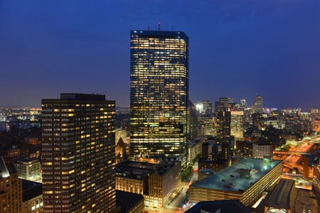 back bay: Boston John Hancock Tower and Back Bay Skyline at night, Boston, Massachusetts, USA