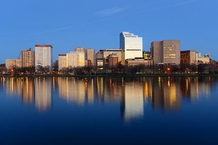 Boston Massachusetts General Hospital and West End Skyline at night, viewed from Cambridge, Boston, Massachusetts, USA