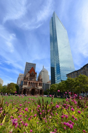 john hancock: Boston Trinity Church and John Hancock Tower at Copley Square, Boston, Massachusetts, USA Stock Photo