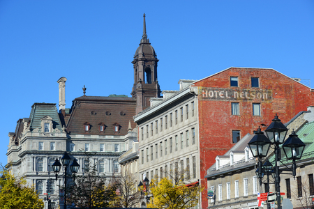 montreal city: Montreal city hall, a French Empire style building, and Maison Cartier on Place Jacques-Cartier in old town Montreal, Quebec, Canada Editorial