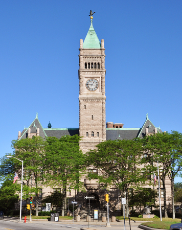Lowell City Hall is a Romanesque Revival style architecture in downtown Lowell, Massachusetts, USA Фото со стока