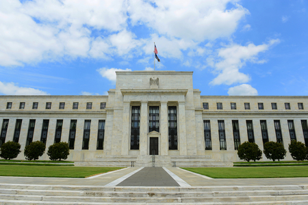 Federal Reserve Building is the headquarter of the Federal Reserve System and 12 Federal Reserve Banks, Washington DC, USA. Редакционное