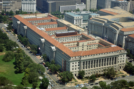 ronald reagan: Aerial View from Washington Monument Aerial view of US Department of Commerce from Washington Monument in Washington DC, USA.