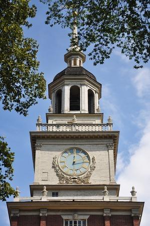 독립 기념관 꼭대기에있는 종탑, 이전에는 Liberty Bell, Philadelphia, Pennsylvania, USA가있었습니다.