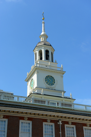 liberty bell: The bell tower atop Independence Hall, formerly home to the Liberty Bell, Philadelphia, Pennsylvania, USA