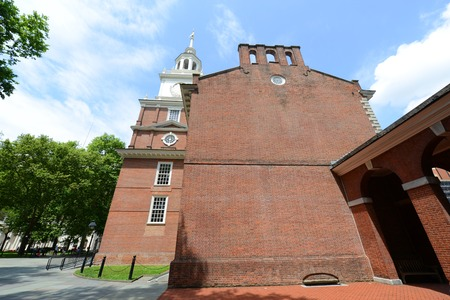 Independence Hall side view in old town Philadelphia, Pennsylvania, USA. Editorial