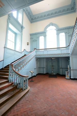 Stairs in Independence Hall in old town Philadelphia, Pennsylvania, USA. Editorial