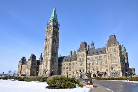 gothic revival: Parliament Buildings in winter, Ottawa, Ontario, Canada.