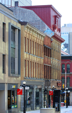 OTTAWA, CANADA - MAR. 10, 2012: Antique Buildings and stores in Sparks Street, Ottawa, Ontario, Canada.