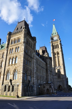gothic revival: Parliament Buildings at sunset, Ottawa, Ontario, Canada. Stock Photo
