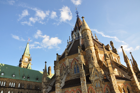 gothic revival: Library of Parliament at sunset, Ottawa, Ontario, Canada.